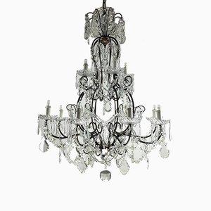Lustre à 12 Luminaires Antique en Cristal