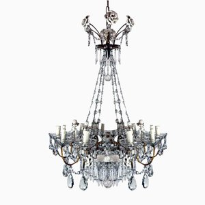 Crystal and Porcelain 12-Light Chandelier, 1950s