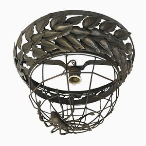 Antique Wrought Iron Spider Ceiling Lamp, 1900s