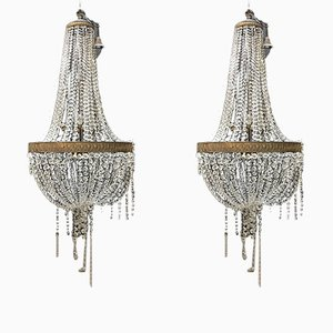 Crystal Glass Chandeliers, 1930s, Set of 2