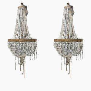Kronleuchter aus Kristallglas, 1930er, 2er Set