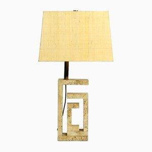 Lámpara de mesa italiana grande escultural de travertino de Fratelli Mannelli, años 60