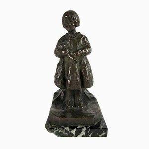 Vintage Bambina con Bambola Sculpture by R. Zacchetti