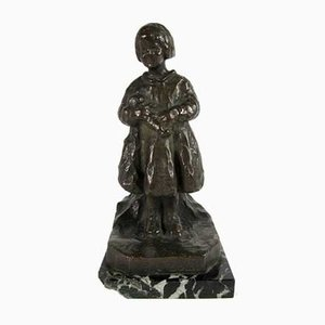 Vintage Bambina con Bambola Skulptur von R. Zacchetti