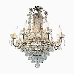 Bronze & Crystal Chandelier with Obelisks, 1950s