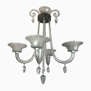 Antique Style Blown Glass Chandelier, 1940s