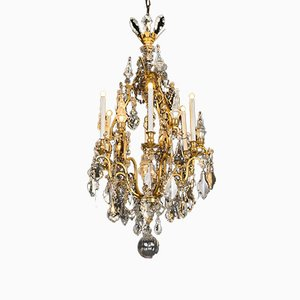 French Gilded Bronze & Crystal Chandelier, 1900s