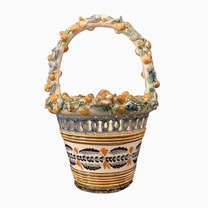 Cesta Mid-Century de cerámica perforada