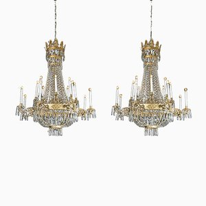 Antique Empire Chandeliers, Set of 2