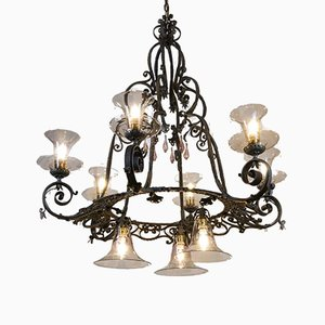Large Wrought Iron & Blown Glass Chandelier, 1920s