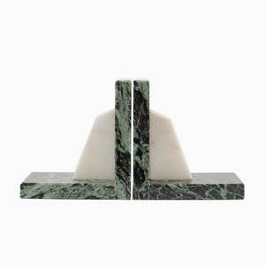 Vintage Green Marble Bookends, 1970s, Set of 2