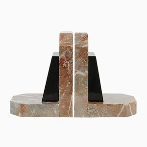 Fermalibri Art Déco in marmo, anni '20, set di 2