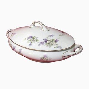 Antique Oval Floral Porcelain Tureen from Thomas