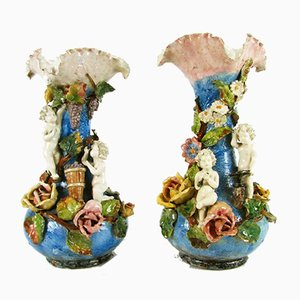 Jarrones antiguos de cerámica multicolor. Juego de 2