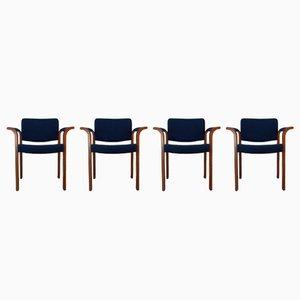 Modell 61 Stühle aus Eiche mit blauem Stoffbezug von Thygessen & Sorensen für Magnus Olesen, 1970er, 4er Set