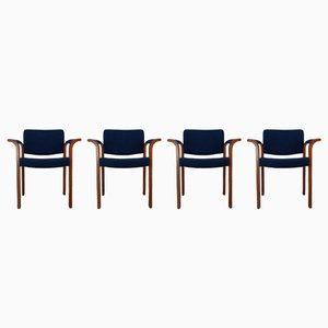 Oak & Blue Fabric Model 61 Chairs by Thygessen & Sorensen for Magnus Olesen, 1970s, Set of 4