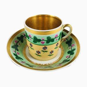 Antike Kaffeetasse und -teller aus Porzellan