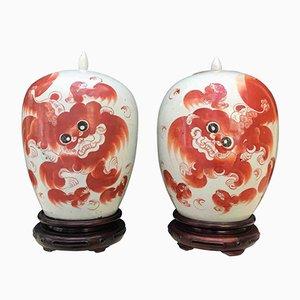 Vases Antiques en Porcelaine, Chine, Set de 2