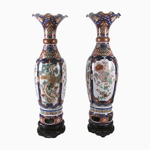 Large Porcelain Imari Vases, 1800s, Set of 2