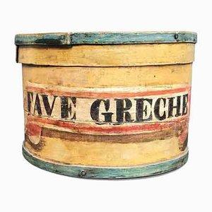 Antike braun lackierte runde Dose