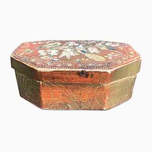 Antique Lacquered & Gilded Box with Flowers & Birds
