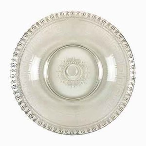 Circular Engraved Glass Plate, 1800s