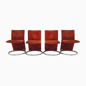 Italienische Vintage Beistellstühle mit rostroten Alcantara-Bezügen, 1970er, 4er Set