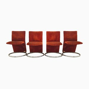 Vintage Italian Rust Color Alcantara Side Chairs, 1970s, Set of 4
