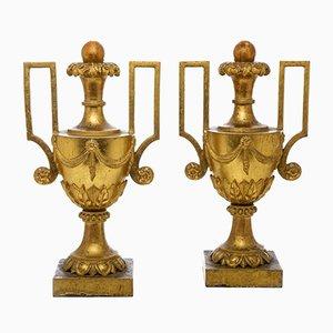 Vasijas antiguas grandes con asas Imperio doradas. Juego de 2