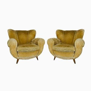 Mid-Century Italian Mustard Color Velvet Armchairs, 1950s, Set of 2