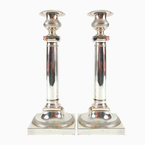 Silver Metal Candlesticks, 1950s, Set of 2