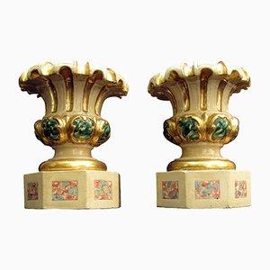 Antike Vasen aus Holz, 1700er, 2er Set