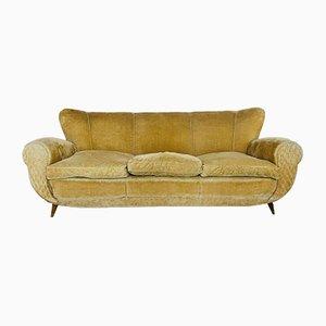 Mid-Century Italian Mustard Color Velvet Sofa, 1950s