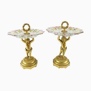Bandejas para pasteles antiguas de bronce dorado y cristal tallado. Juego de 2