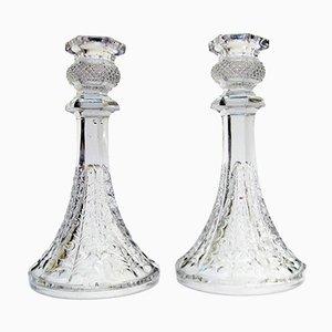 Vintage Kerzenhalter aus Kristallglas, 1940er, 2er Set