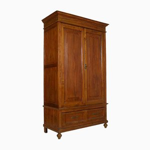 Antique Solid Fir Wardrobe & Cupboard with Drawer