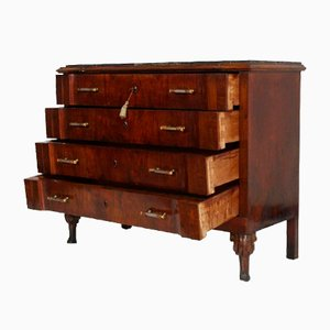 Vintage Art Deco Commode in Burl Walnut with Marble Top