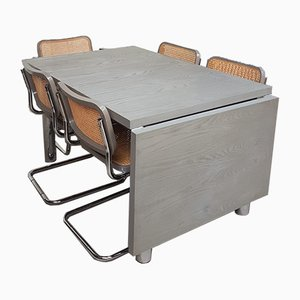 Tavolo da pranzo Mid-Century allungabile con sedie di Marcel Breuer di Habitat, anni '80, set di 7