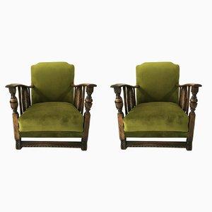 Sillones Art Déco vintage en verde, años 60. Juego de 2
