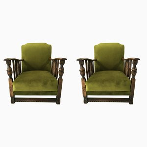 Vintage Art Deco Green Lounge Chairs, 1960s, Set of 2