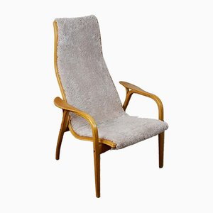 Vintage Oak & Grey Sheepskin Lamino Chair by Yngve Ekström for Swedese