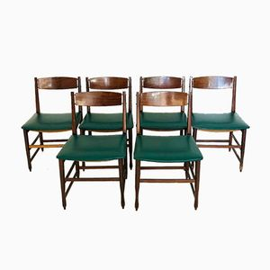 Wood and Skai Dining Chairs, 1960s, Set of 6