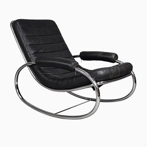 Rocking Chair Vintage en Chrome et en Cuir, 1970s