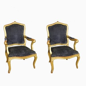 Italian Blue Velvet & Golden Wood Armchairs, 1880s, Set of 2