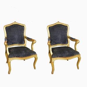 Italian Blue Velvet & Golden Wood Armchairs, 1880s, Set of 2