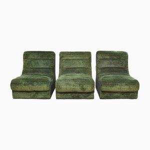 Sofá seccional vintage de felpa en verde de 9 piezas, años 70