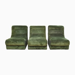 Vintage Green Plush 9-Piece Sectional Sofa, 1970s