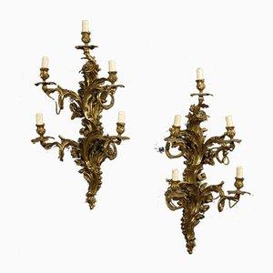 Vergoldete & gemeißelte italienische Wandlampen aus Bronze, 1920er, 2er Set