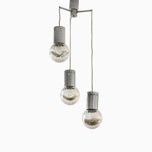 Lampada da soffitto vintage in vetro di Murano con 3 diffusori di Seguso
