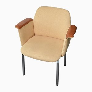 Danish Armchair with Leather Armrests, 1960s